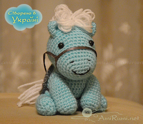 Crocheted amigurumi toy Blue Horsie