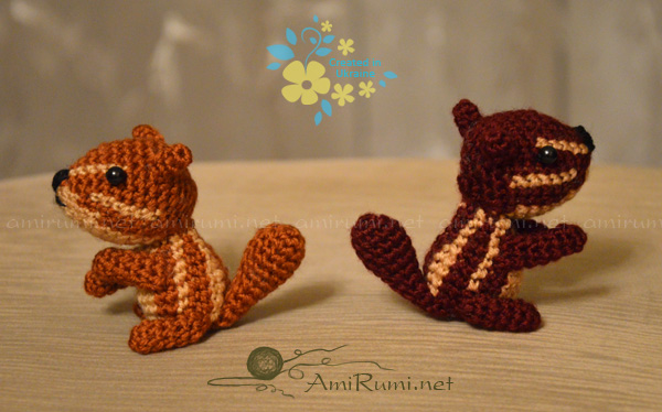 Crocheted amigurumi toys Chipmunks on a quest