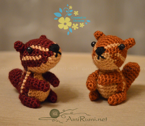 Crocheted amigurumi toys Clever Chipmunks