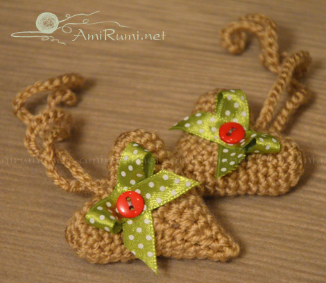 Crocheted Heart with ribbon bow